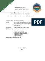 Analisis de Agua Potable de Paria-wilcahuain
