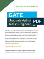 Gate Syllabus for Mathematics
