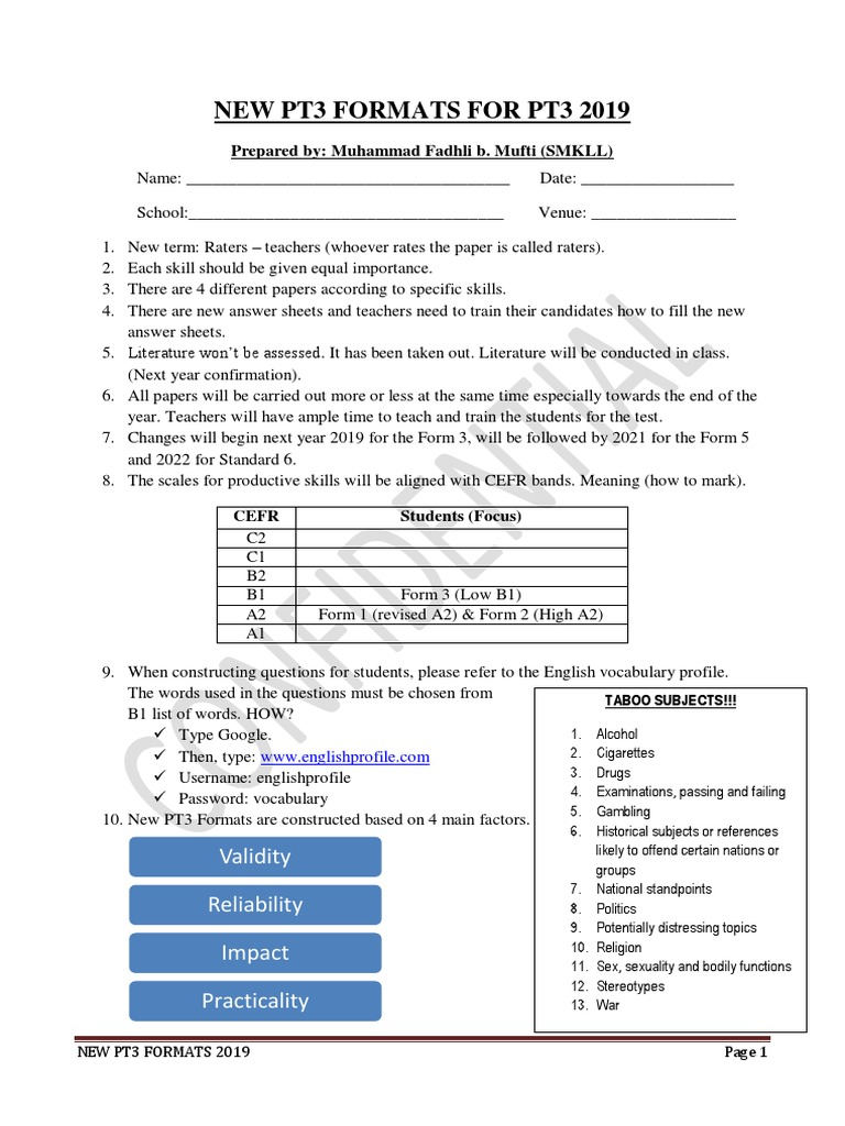 Pt3 2019 Latest Formats Multiple Choice Test Assessment