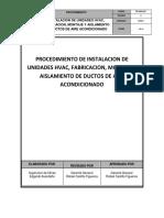 Procedimiento de Instalacion de Unidades Hvac, Fabricacion, Montaje y Aislamiento de Ductos de Aire Acondicionado