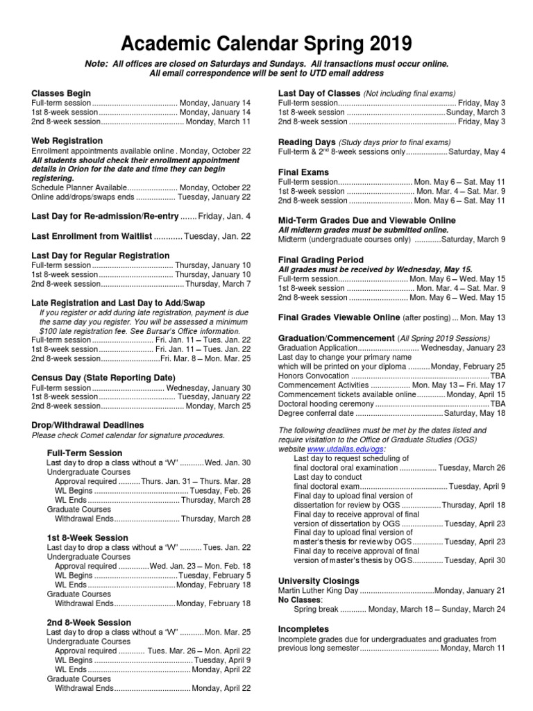 UTD Academic Calendar Spring 2019 | Fee | Academic Term