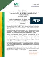 Nota de Prensa Papakuna