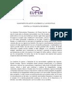MANIFIESTO EUFEM Apoyo Academico Politicas Contra Violencia Enero 2019-1