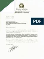Carta de condolencias del presidente Danilo Medina a monseñor Freddy Bretón Martínez por fallecimiento de su hermano Domingo F. Bretón Martínez