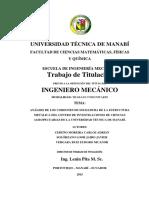 Analisis de Los Cordones de Soldadura de La Estructura Metalica Del Centro de Investigaciones de Ciencias Agropecuarias de La Universidad Tecnica de Manabi.