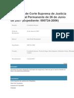 Sentencia de Corte Suprema de Justicia - Sala Penal Permanente de 26JUN2007 - Expediente 000724-2006