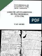 Libro de apuntamientos y de pías Memorias 1723-1750