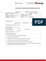 TEMARIO ÉXAMEN MATERIALES PELIGROSOS PRIMAVERA 2018