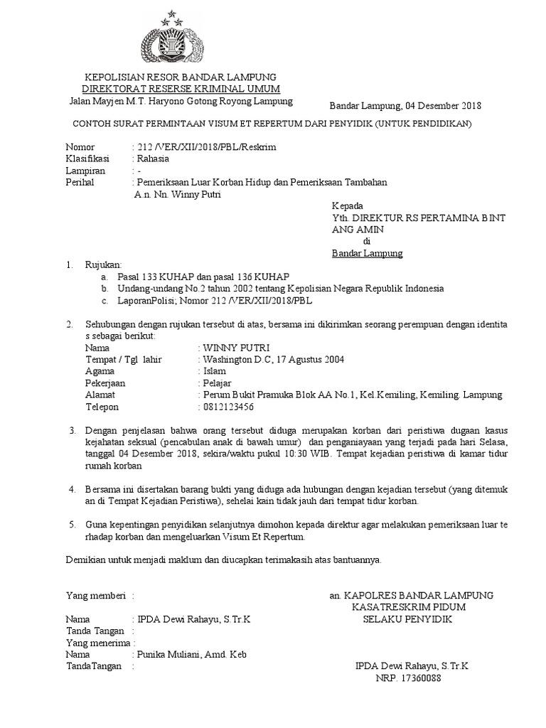 Contoh Surat Permintaan Visum Dari Kepolisian