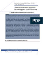 Production Planning and Organizational Effectiveness