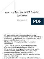 Role of a Teacher in ICT Enabled Education
