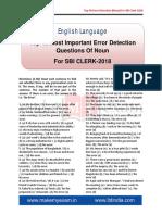 Top 40 Error Detection (Noun) for Sbi Clerk - 2018