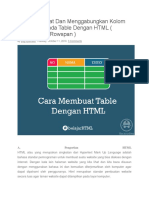 Cara Membuat Dan Menggabungkan Kolom Atau Baris Pada Table Dengan HTML