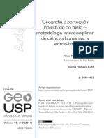 Geografia e Português No Estudo Do Meio - Metodologia Interdisciplinar Das Ciências Humanas
