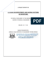 YLP 15-F-301 a Study on Investment and Saving Pattern of Investment