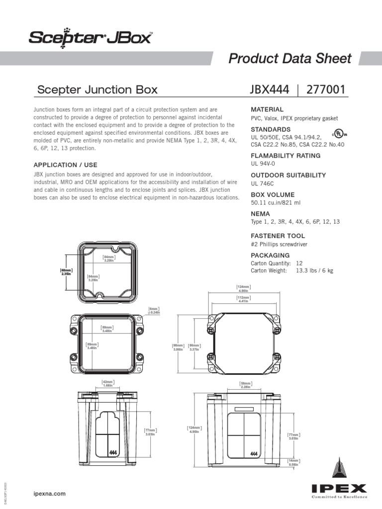 Scepter Jbox Datasheet Jbx 444 | Building Materials