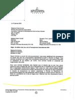 Lettre de Robert Gauvin aux partenaires financiers de la province pour l'organisation des Jeux de la Francophonie 2021