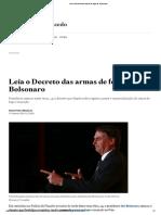 Leia o Decreto Das Armas de Fogo de Bolsonaro