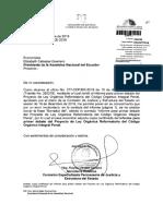 primer informe de reformas al coip ecuador