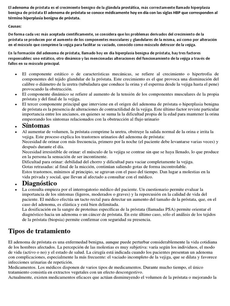 adenoma de próstata pdf en línea