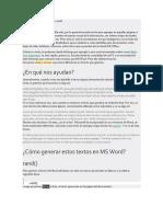 Generar Ejemplo de Texto en Wold