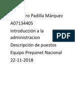 Alejandro Padilla Introduccion a La Administracion Descripcion de Puestos