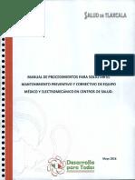 Manual de Prececimientos Para Solicitar Mantenimiento Preventivo Correctivo de Equipo Medico en Centros de Salud