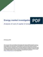 Cost of Capital Energy Market