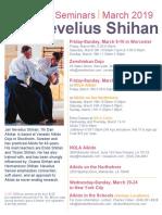 Jan Nevelius Shihan Friendship Seminars in USA March 2019 Flyer