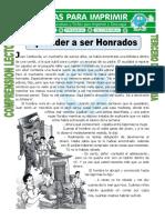 Ficha Aprender a Ser Honrados Para Tercero de Primaria