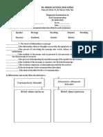 Diagnostic Test in Oral Communication