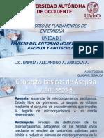 Principios de Asepsia y Antisepsia, Aseo y Limpieza, y Desinfección.