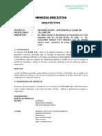 Memoria Descriptiva Arquitectura Cercado de Lima