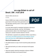 EU Lawmakers Urge Britain to Call Off Brexit