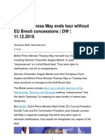 UK PM Theresa May Ends Tour Without EU Brexit Concessions