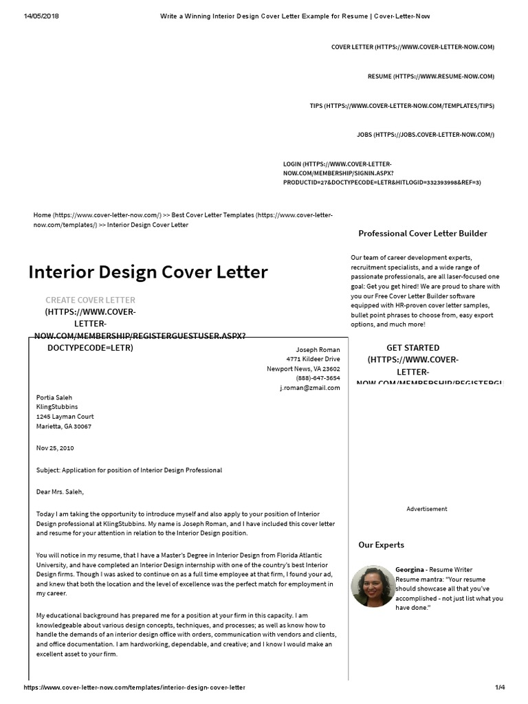 Write A Winning Interior Design Cover Letter Example For Resume Cover Letter Now World Wide Web Internet Web