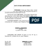 Affidavit of Non-improvement