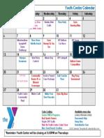 Andover Youth Center Calendar