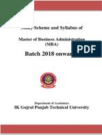 MBA syllabus of PTU 2018