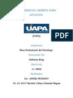Tarea 1 de Etica Profecional Del Psicologo Dahiana King