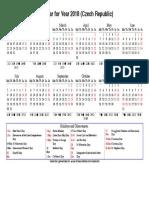 Year 2018 Calendar – Czech Republic