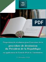 DESTITUTION Du Président de La République Proposition de Résolution