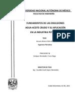 Fundamentos de Las Emulsiones Agua-Aceite Crudo y Su Aplicación en La Industria Petrolera