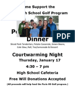 2019 Golf Dinner Flyer