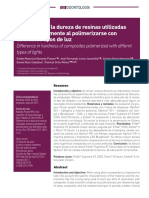 Articulo 10 Fiderencia en La Dureza de Resinas Utilizadas Convencionalmente Al Polimerizarse Con Diferentes Tipos de Luz