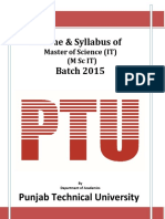Syllabus MSc IT 2015 Batch Onwards PTU DDE