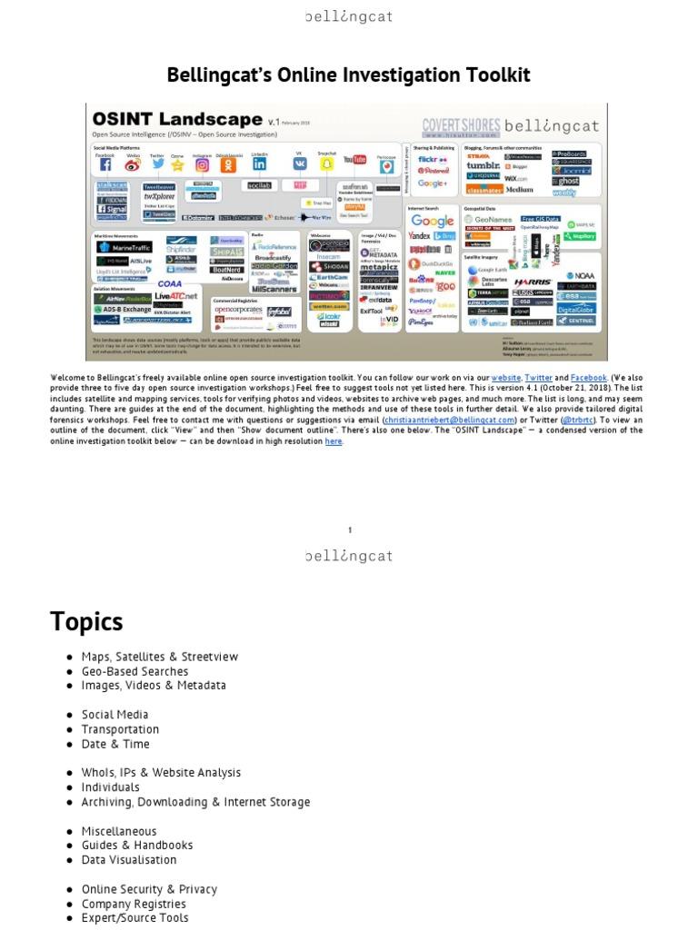 Bellingcat's Online Investigation Toolkit | Satellite Imagery | Metadata