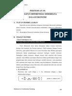 Pertemuan Ke-10_penerapan Diferensial Sederhana Dalam Ekonomi