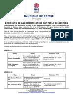Décisions de la commission de contrôle de gestion FFBB