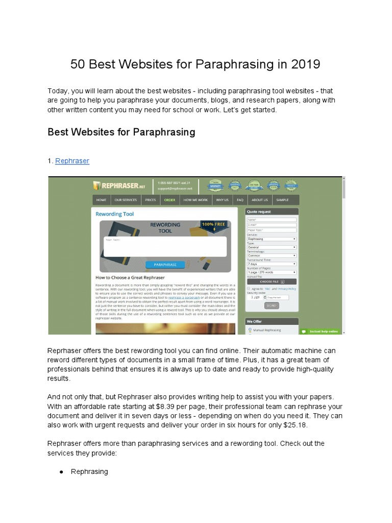 50 Best Website For Paraphrasing In 2019 Proofreading Plagiarism Paraphrase Reword Your Text